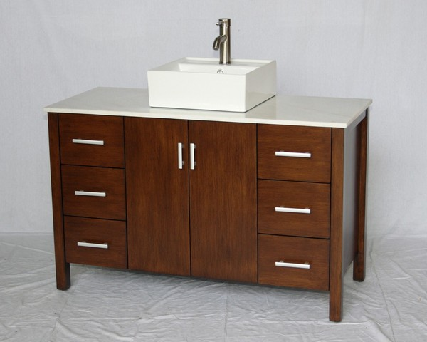 """48"""" Adelina Contemporary Style Single Sink Bathroom Vanity in Walnut Finish with Imperial White Stone Countertop and Square White Porcelain Sink"""