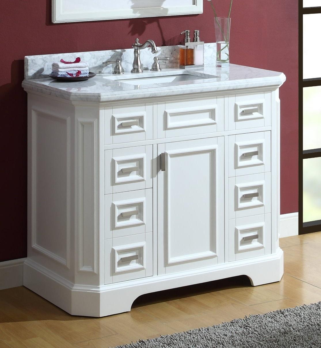 "Adelina 42"" Carrara Marble White Bathroom Sink Vanity"