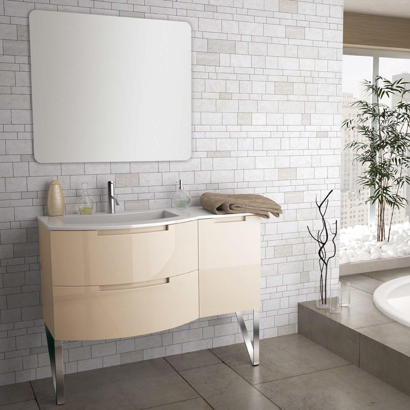 43 Inch Modern Floating Bathroom Vanity Sand Glossy Finish