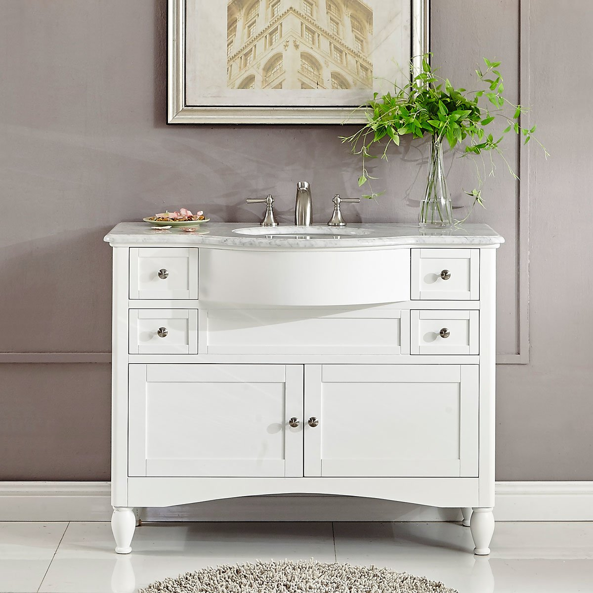 45 inch Single Sink Contemporary White Bathroom Vanity Carrara Marble Top