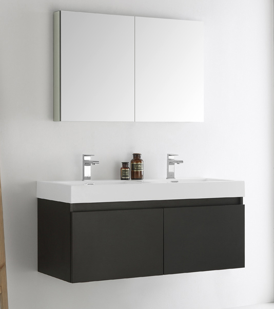 "48"" Black Wall Hung Double Sink Modern Bathroom Vanity with Faucet, Medicine Cabinet and Linen Side Cabinet Option"