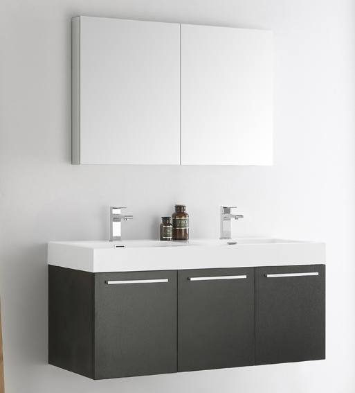 "48"" Black Wall Hung Double Modern Bathroom Vanity with Faucet, Medicine Cabinet and Linen Side Cabinet Option"