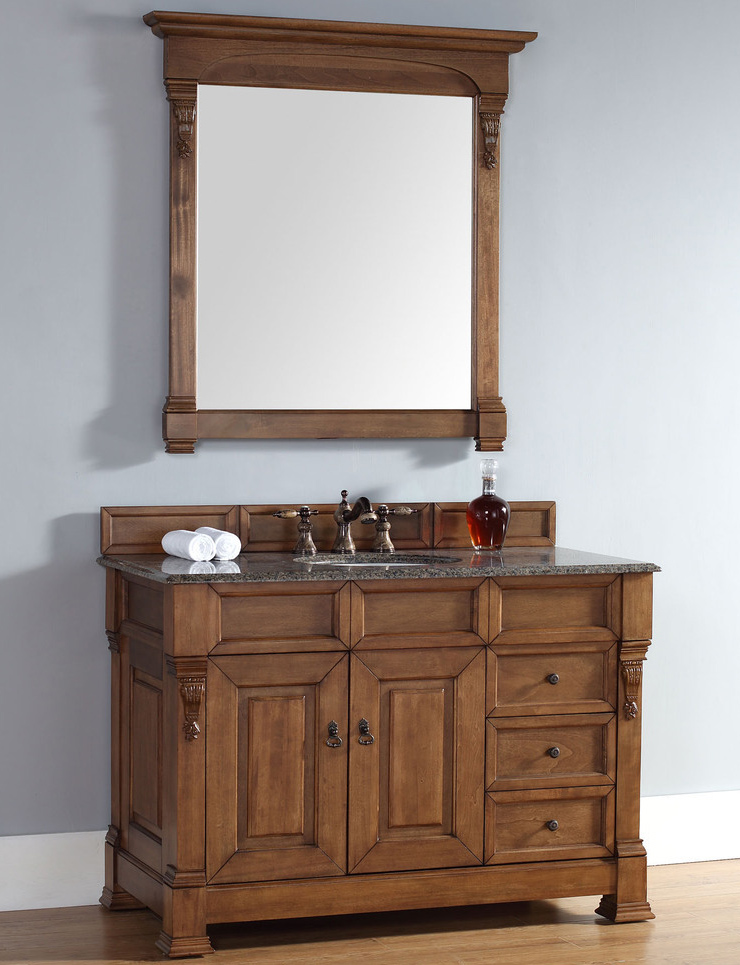 48 Inch Country Oak Finish Single Traditional Bathroom Vanity Optional  Countertop