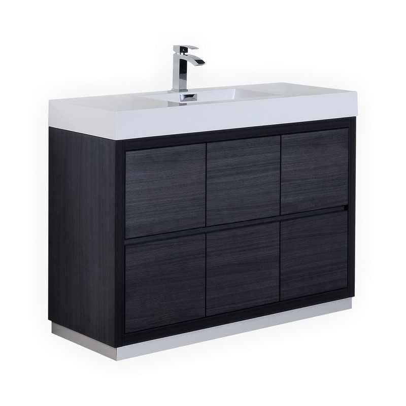 48 Inch Integrated Sink Top Gray Oak Finish Free Standing