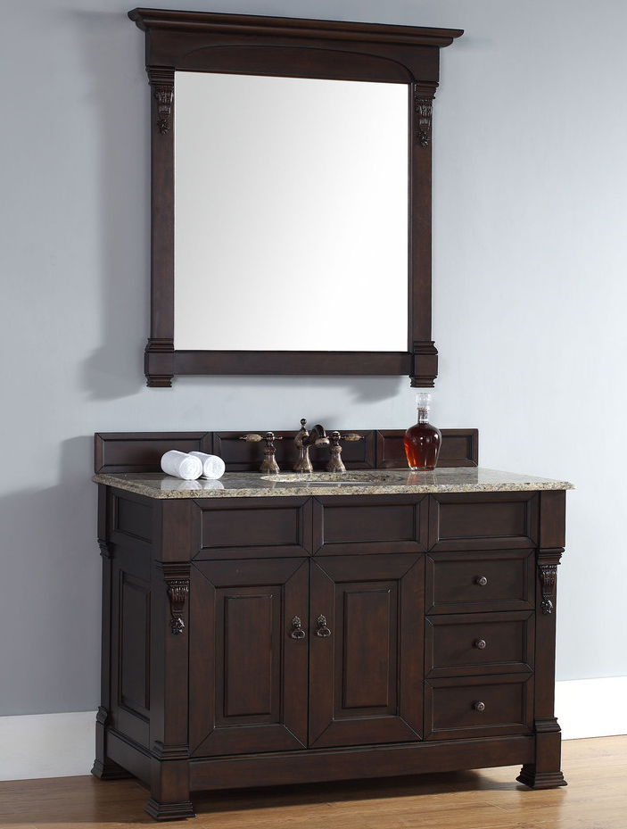 James Martin Brookfield Collection 48 Single Vanity With Drawers Burnished Mahogany