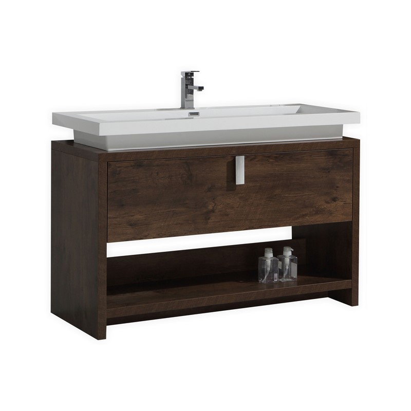48 Inch Rose Wood Modern Bathroom Vanity With Integrated