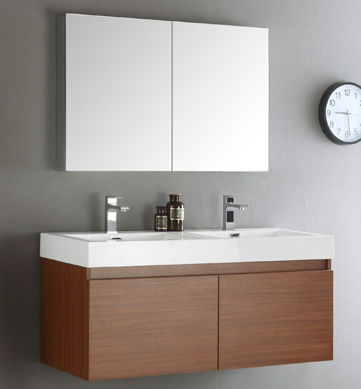 "48"" Teak Wall Hung Double Sinks Modern Bathroom Vanity with Faucet, Medicine Cabinet and Linen Side Cabinet Option"