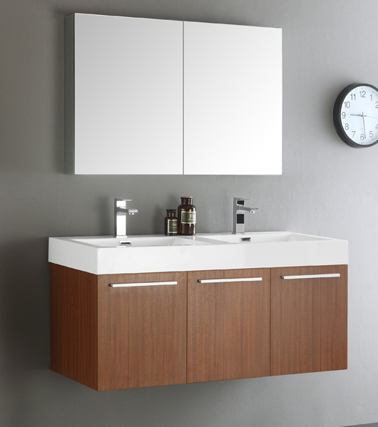 """Fresca Vista 48"""" Teak Wall Hung Double Sink Modern Bathroom Vanity with Faucet, Medicine Cabinet and Linen Side Cabinet Option"""
