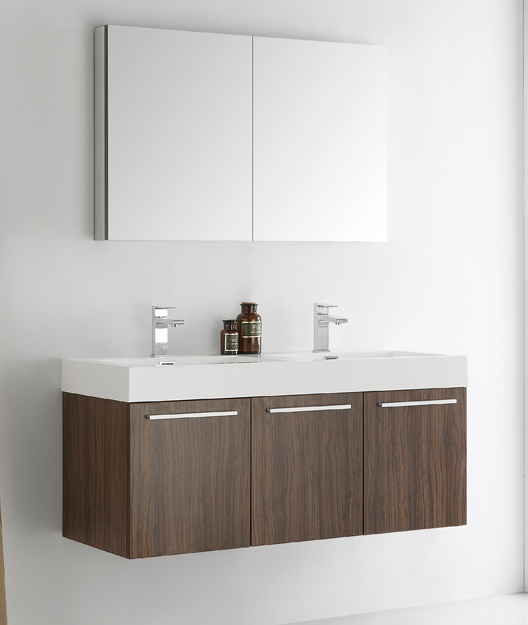 """48"""" Walnut Wall Hung Double Modern Bathroom Vanity with Faucet, Medicine Cabinet and Linen Side Cabinet Option"""