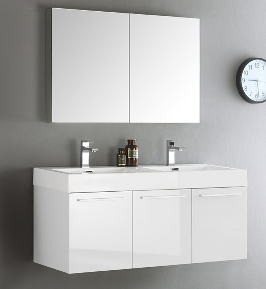 """48"""" White Wall Hung Double Sink Modern Bathroom Vanity with Faucet, Medicine Cabinet and Linen Side Cabinet Option"""