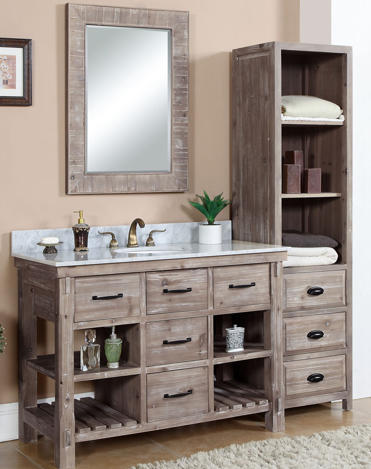 48 inch rustic bathroom vanity carrera white marble top - Rustic Bathroom