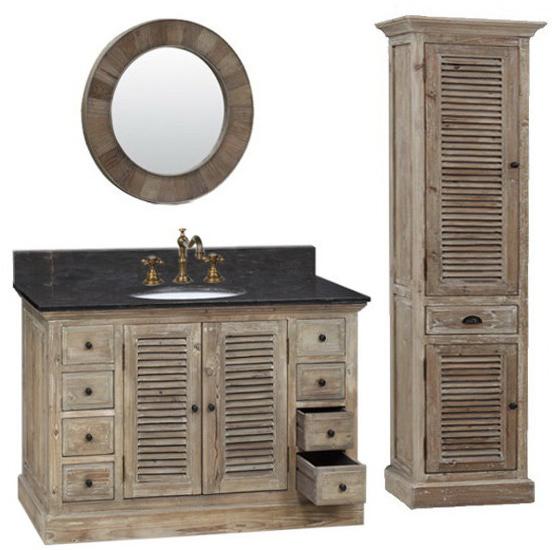 48 inch Single Sink Rustic Bathroom Vanity Dark Limestone Top