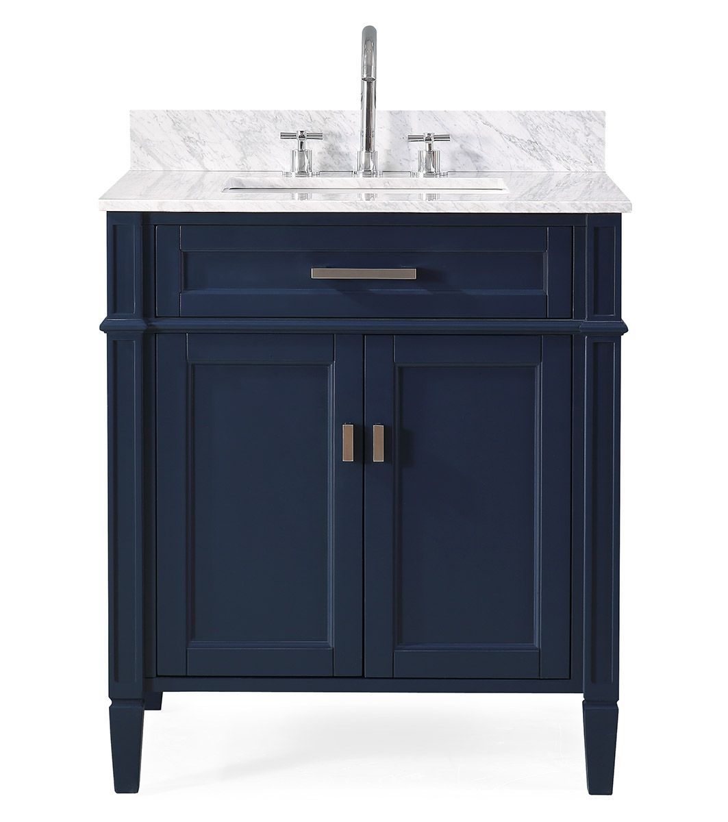 "30"" Navy Blue Contemporary Single Sink Bathroom Vanity with Italian Carrara Marble Countertop"