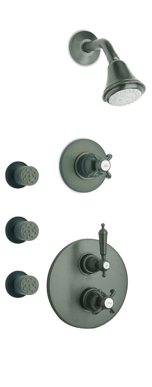 """Thermostatic Shower With 3/4"""" Ceramic Disc Volume Control, 3-Way Diverter and 3 Body Jets in 3 Option Color"""