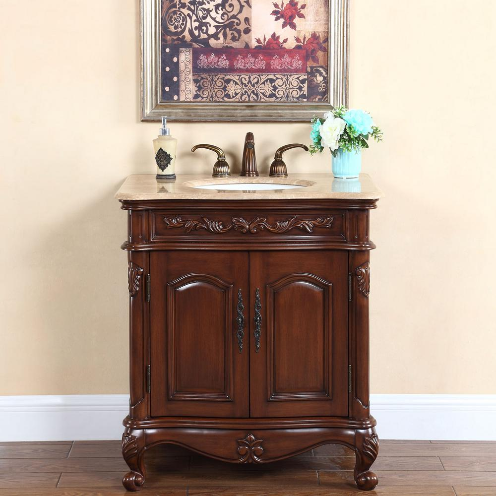 """32"""" Single Sink Vanity in English Chestnut with Stone Vanity Top in Travertine with White Basin"""