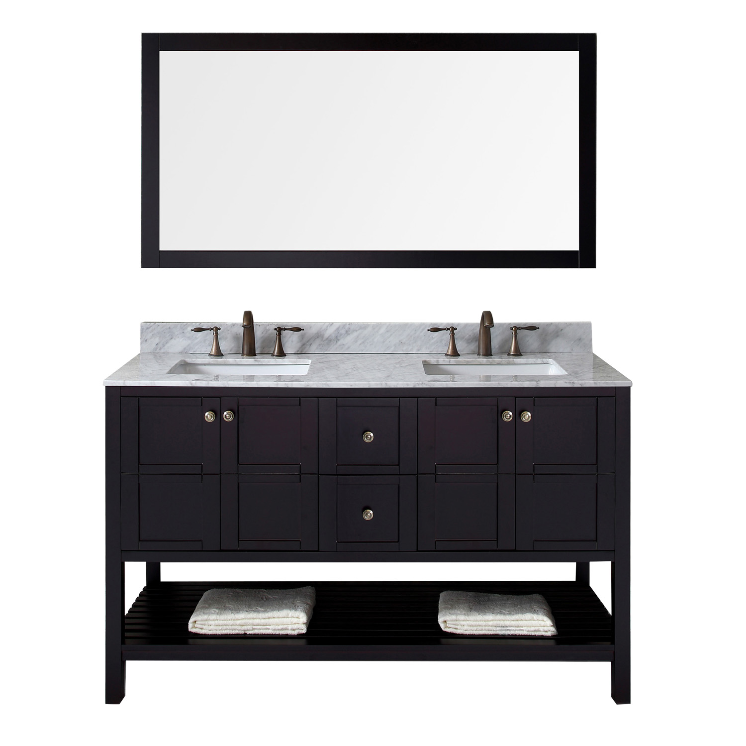 """60"""" Double Bath Vanity in Espresso Finish with Marble Top and Square Sink with Faucet and Mirror Options"""