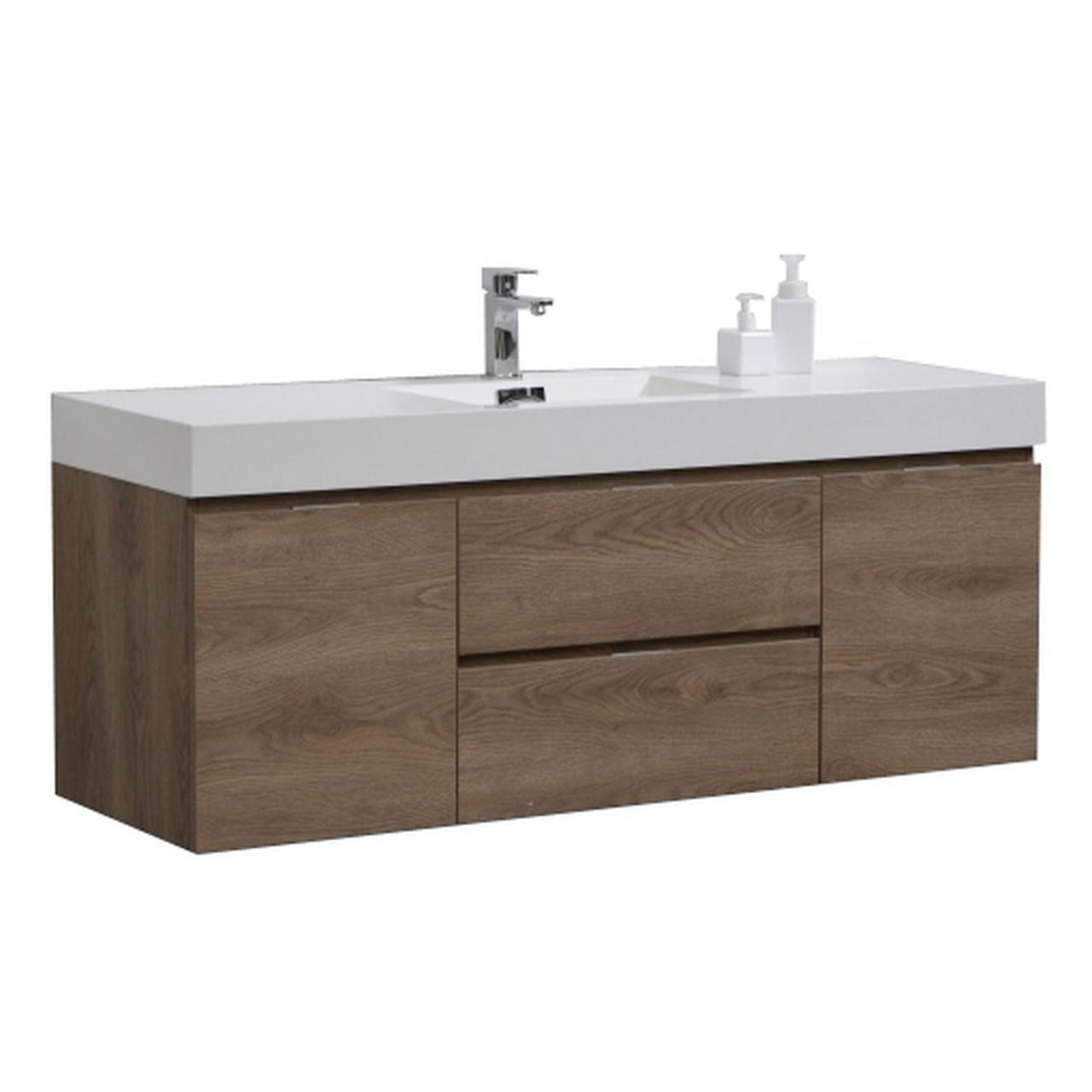 """Modern Lux 60"""" Single Sink Butternut Wall Mount Modern Bathroom Vanity"""