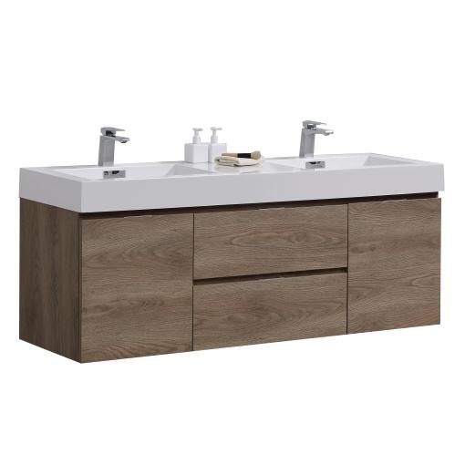"""Modern Lux 60"""" Double Sink Butternut Wall Mount Modern Bathroom Vanity"""