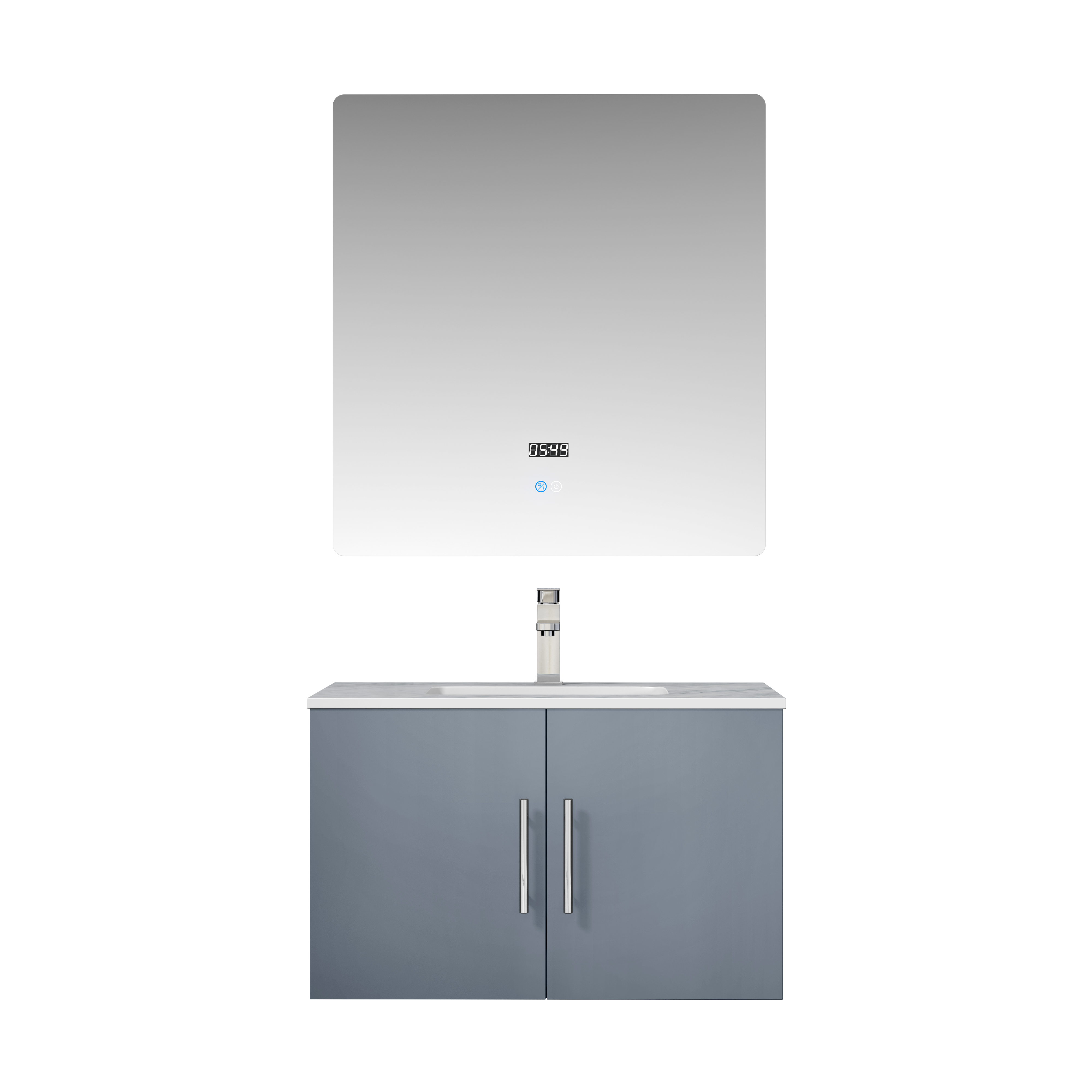 """30"""" Dark Grey Vanity Cabinet Only with Countertop and Mirror Options"""