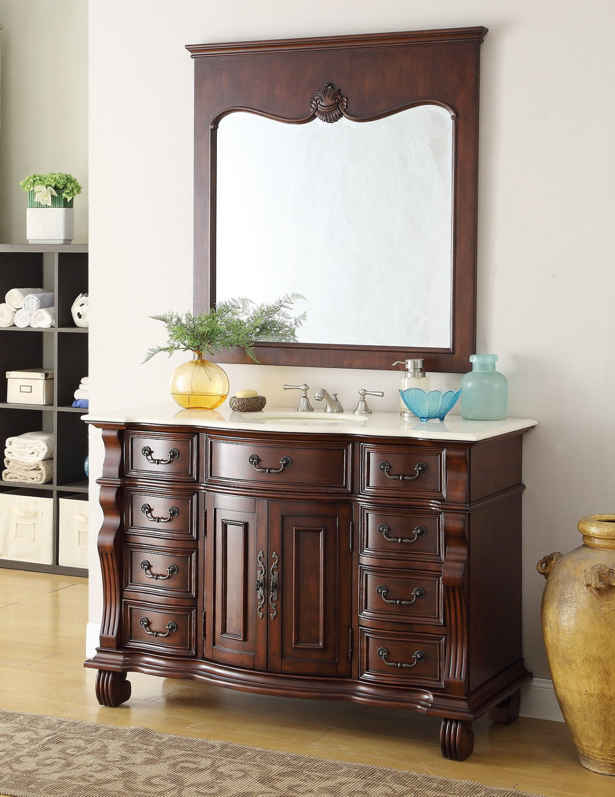 Adelina 50 inch Antique Bathroom Vanity Brown Finish Imperial White Marble Top