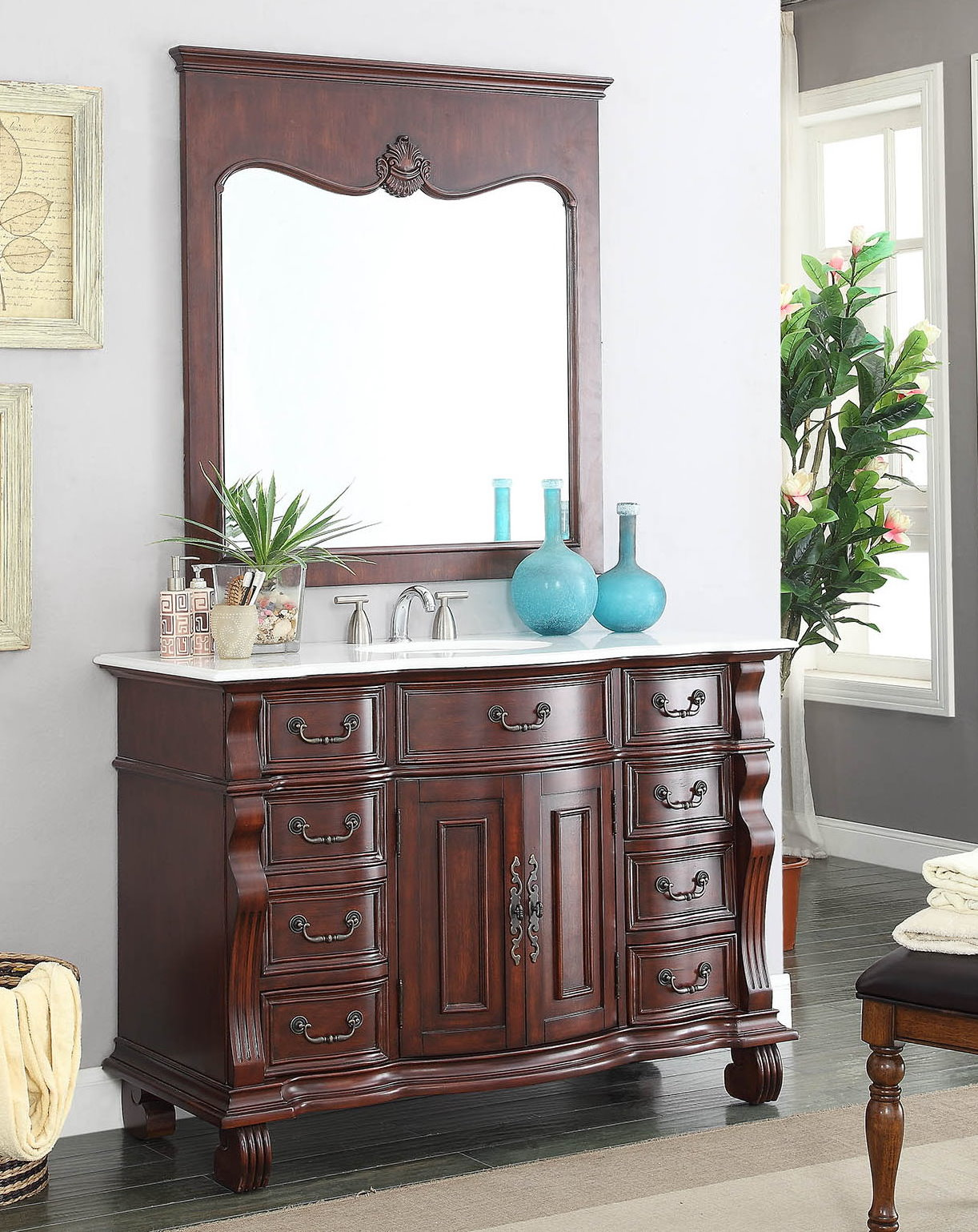 Adelina 50 inch Antique Bathroom Vanity Brown Finish White Marble Top