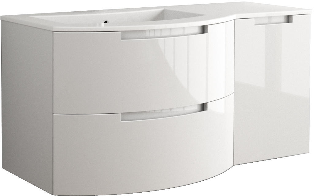 Anity 53 inch Modern Floating Bathroom Vanity White Glossy Finish with Left Sink Top