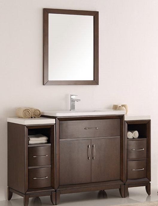 54 bathroom vanity cabinet fresca cambridge collection 54 quot antique coffee traditional 15326