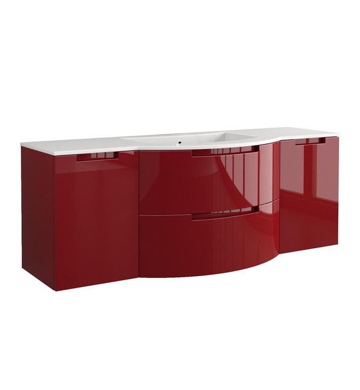 Anity 57 inch Modern Floating Bathroom Vanity Red Finish