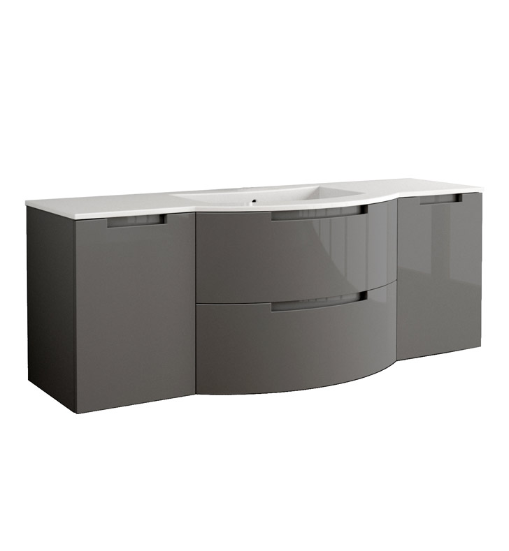 Anity 67 inch Modern Floating Bathroom Vanity Slate Finish