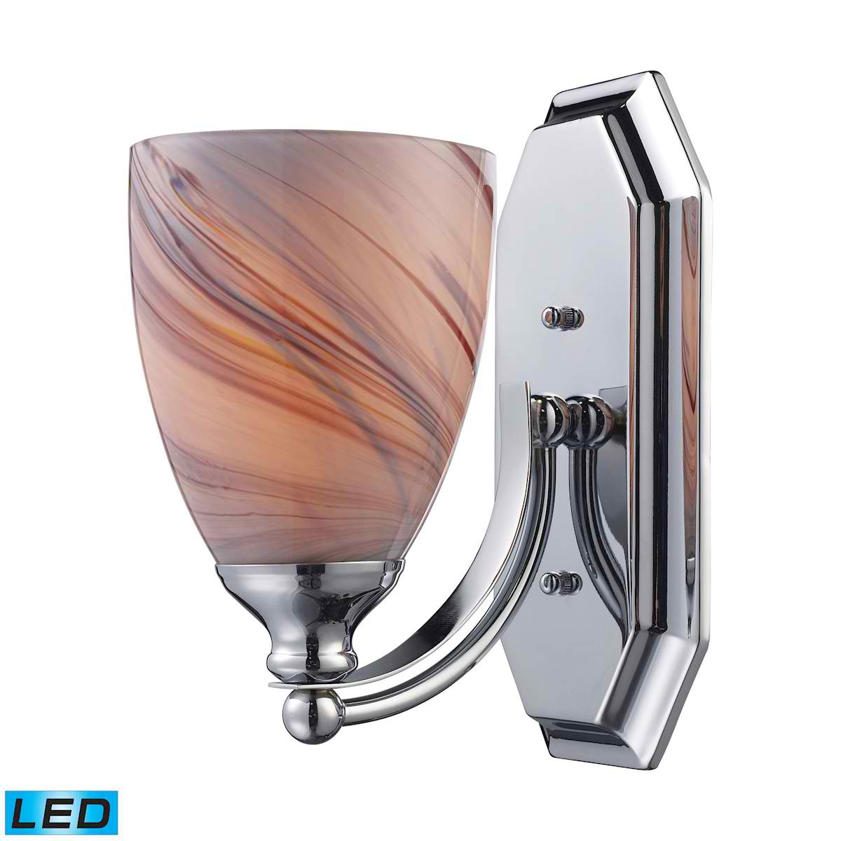 1 Light Vanity in Polished Chrome and Creme Glass - LED Offering Up To 800 Lumens (60 Watt Equivalent)