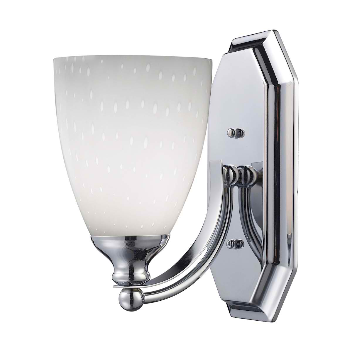 Vanity 1 Light Chrome Finish with Simple White Glass