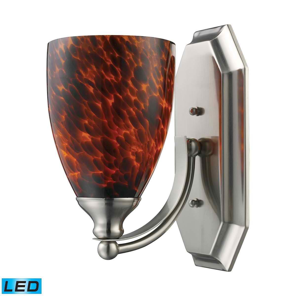 1 Light Vanity in Satin Nickel and Espresso Glass - LED Offering Up To 800 Lumens (60 Watt Equivalent)