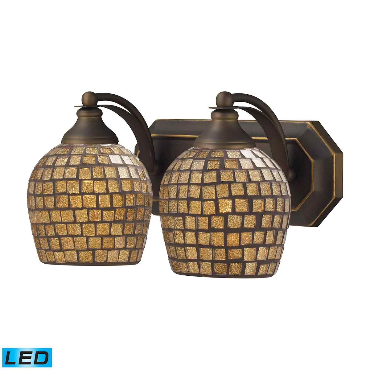 2 Light Vanity in Aged Bronze and Gold Mosaic Glass - LED, 800 Lumens (1600 Lumens Total) with Full Scale