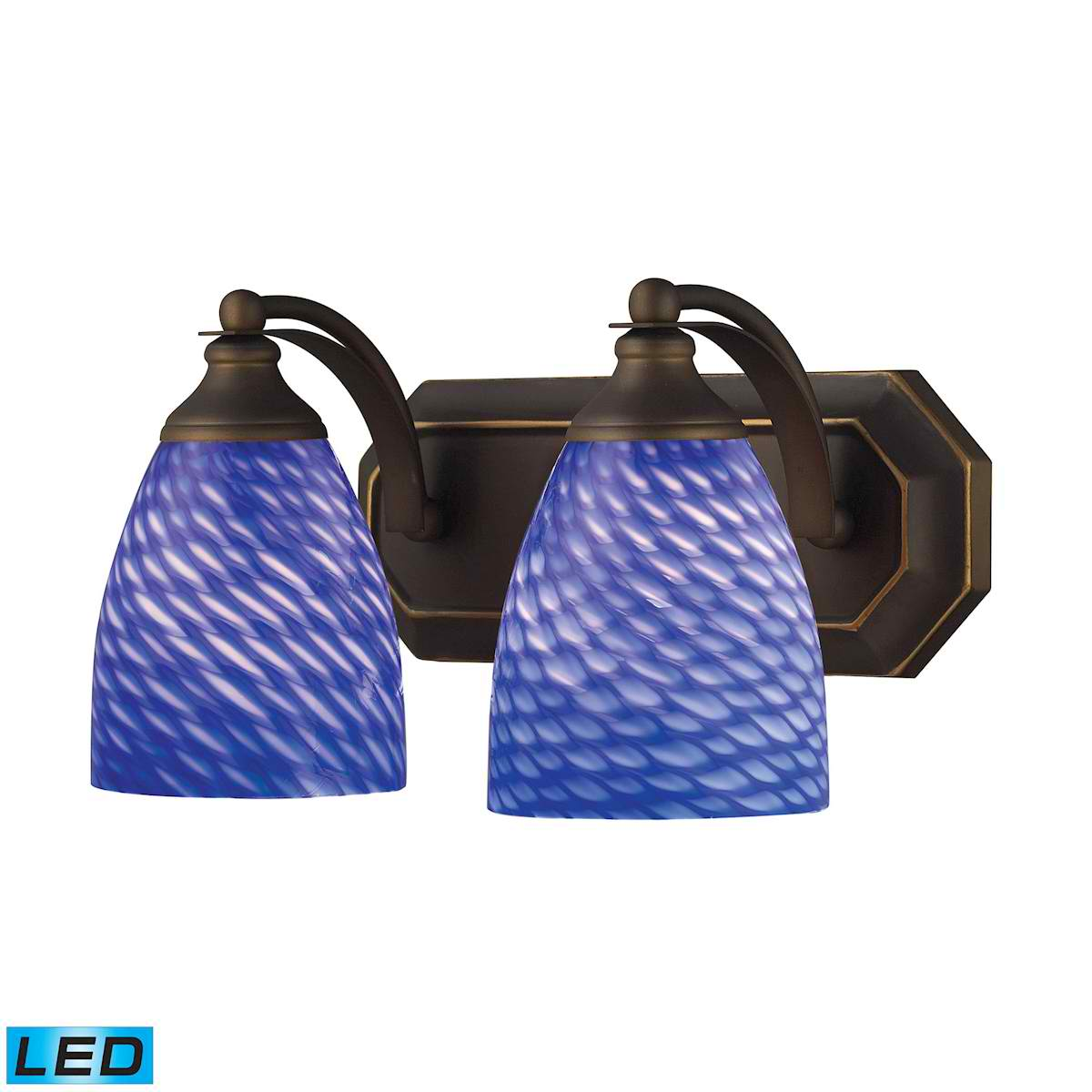 2 Light Vanity in Aged Bronze and Sapphire Glass - LED, 800 Lumens (1600 Lumens Total) with Full Scale