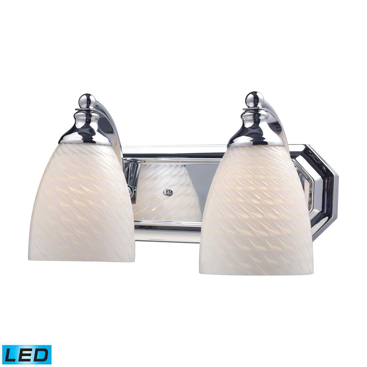 2 Light Vanity in Polished Chrome and White Swirl Glass - LED, 800 Lumens (1600 Lumens Total) with Full Scale