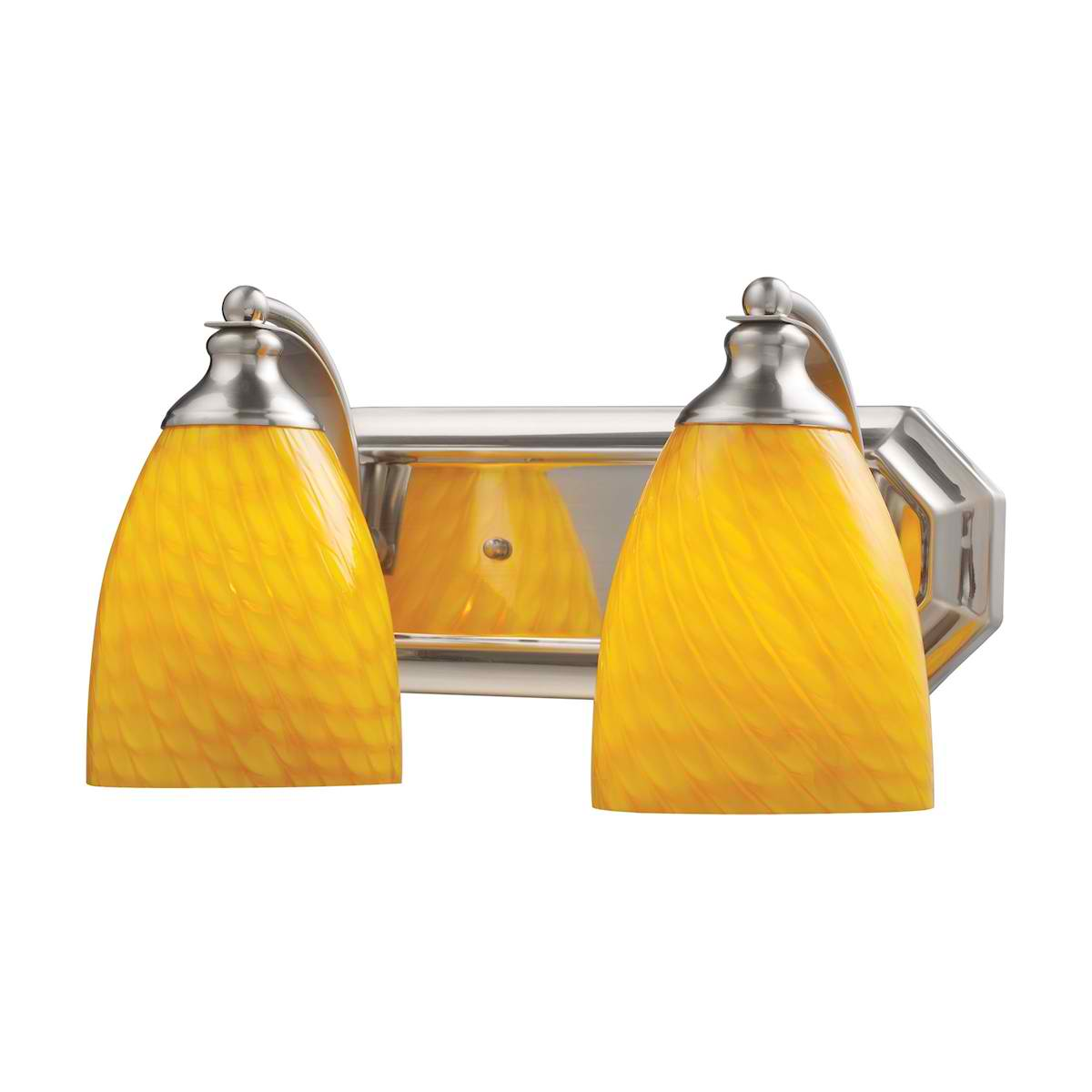 Vanity 2 Light Satin Nickel with Canary Glass