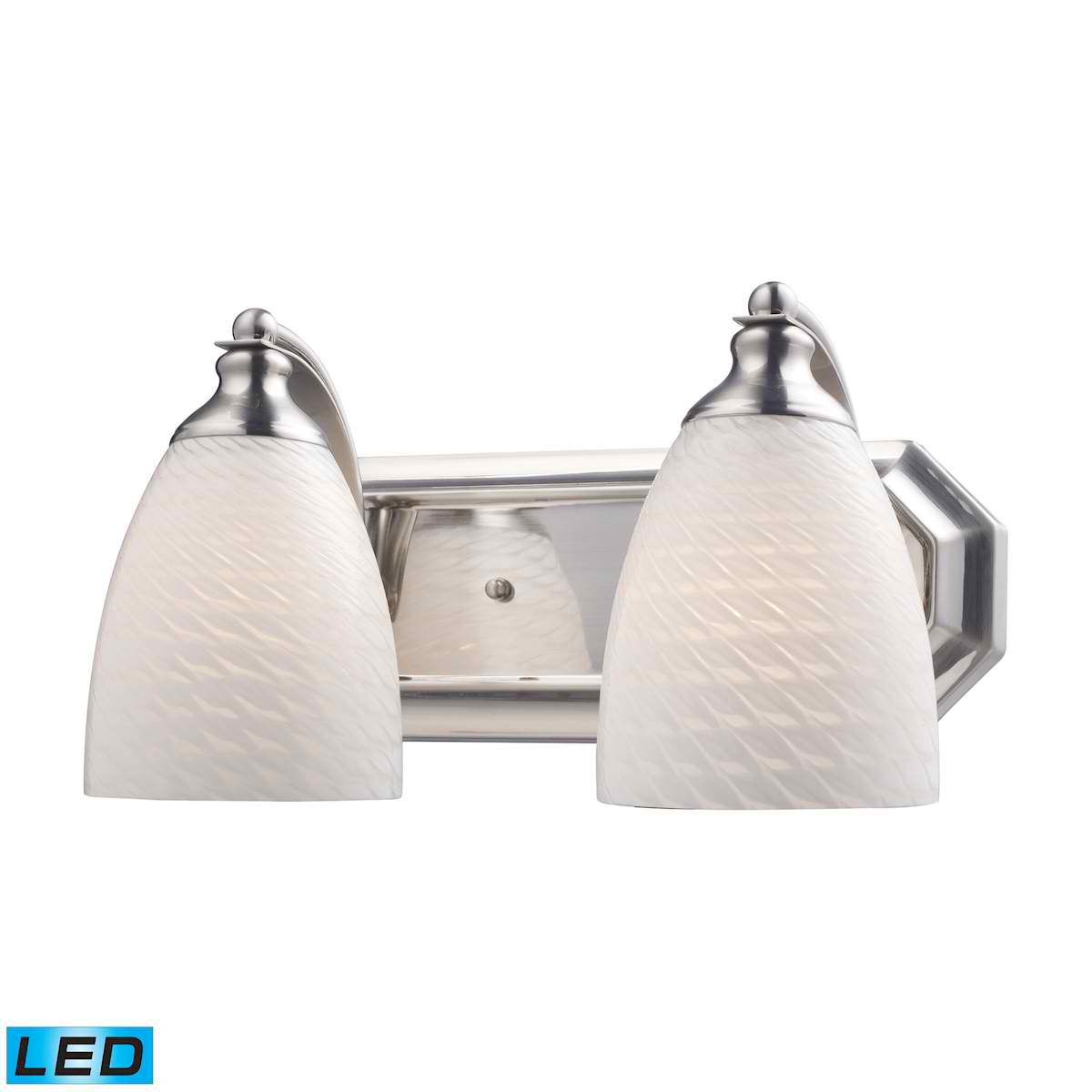 2 Light Vanity in Satin Nickel and White Swirl Glass - LED, 800 Lumens (1600 Lumens Total) with Full Scale