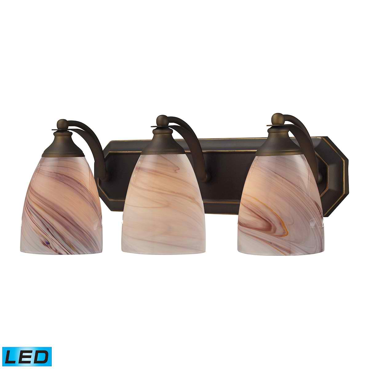 3 Light Vanity in Aged Bronze and Creme Glass - LED, 800 Lumens (2400 Lumens Total) with Full Scale