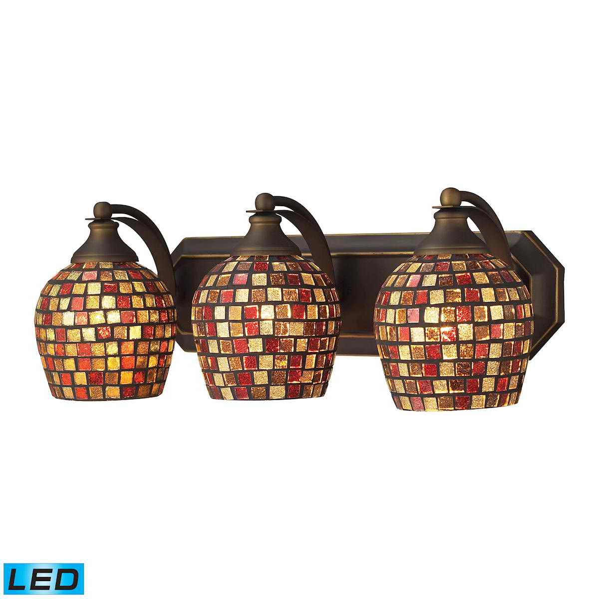 3 Light Vanity in Aged Bronze and Multi Mosaic Glass - LED, 800 Lumens (2400 Lumens Total) with Full Scale