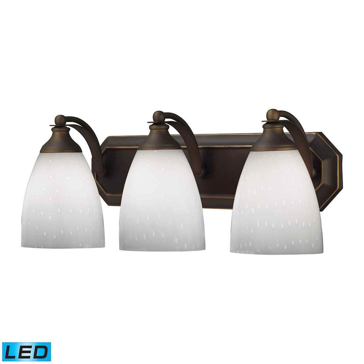 3 Light Vanity in Aged Bronze and Simply White Glass - LED, 800 Lumens (2400 Lumens Total) with Full Scale