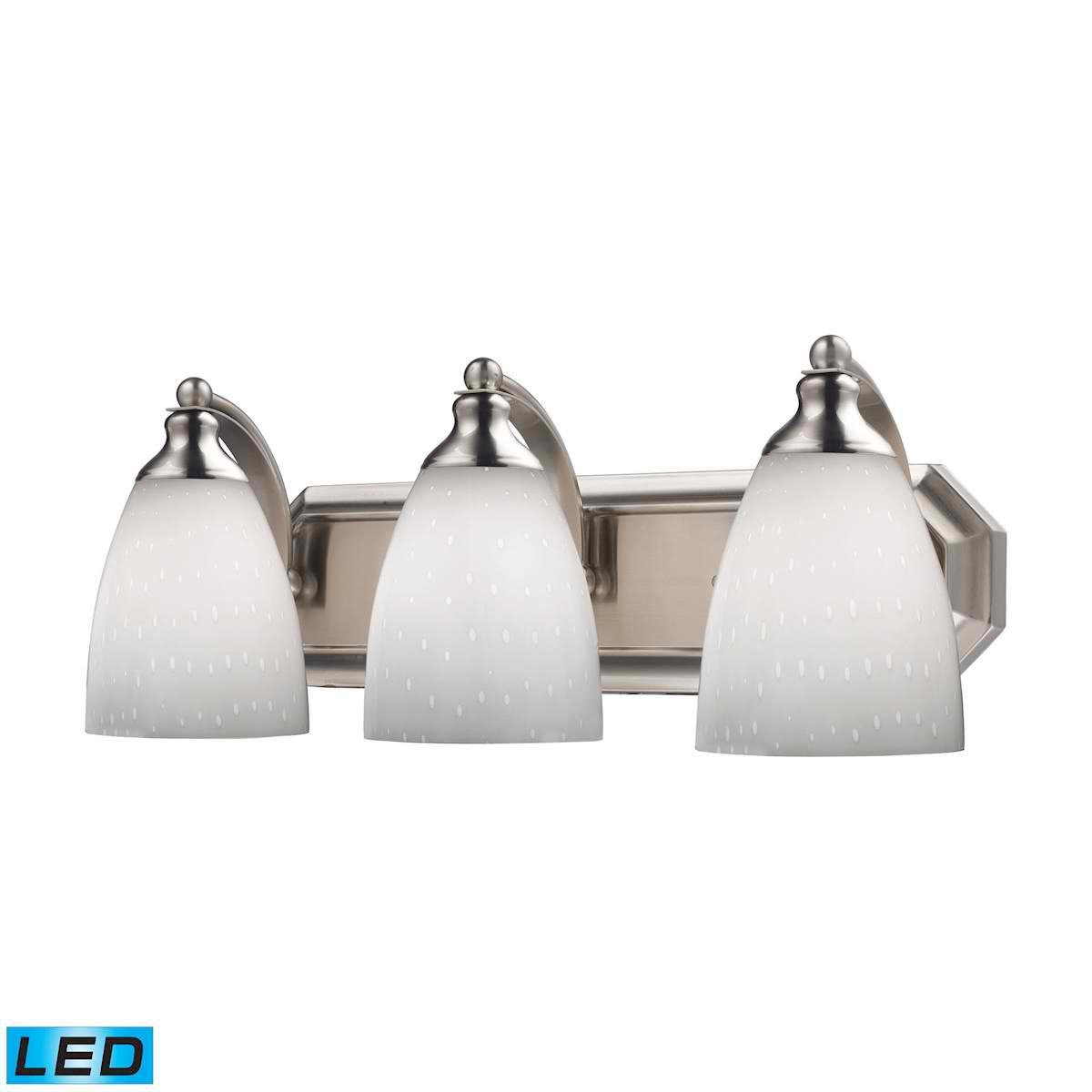 3 Light Vanity in Satin Nickel and Simply White Glass - LED, 800 Lumens (2400 Lumens Total) with Full Scale