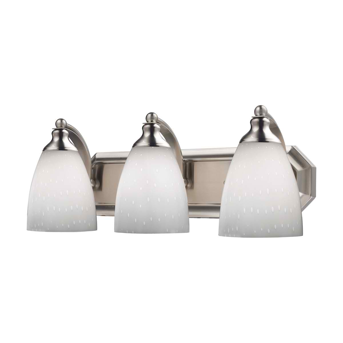 Vanity 3 Light in Satin Nickel with Simple White Glass