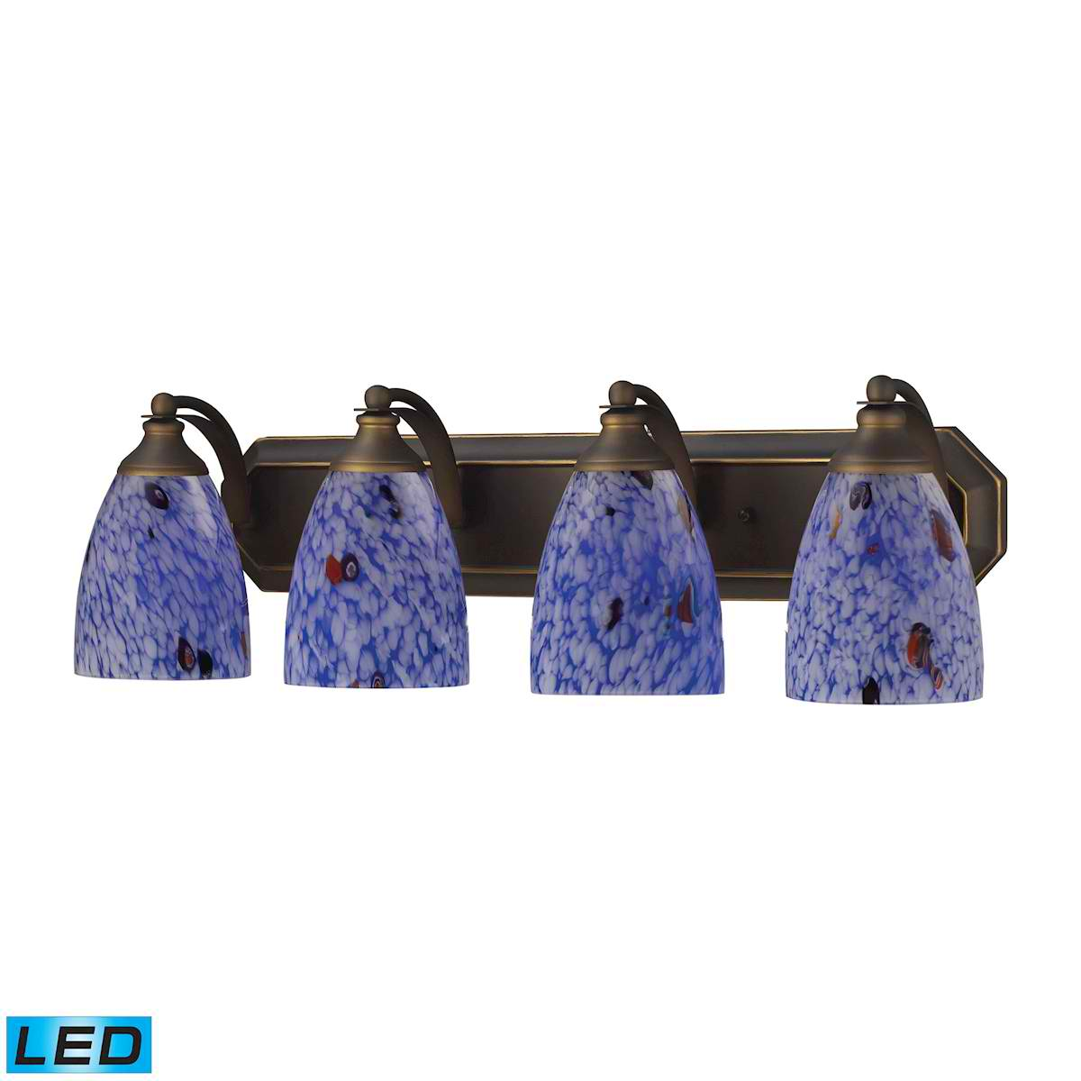 4 Light Vanity in Aged Bronze and Starburst Blue Glass - LED, 800 Lumens (3200 Lumens Total) with Full Scale