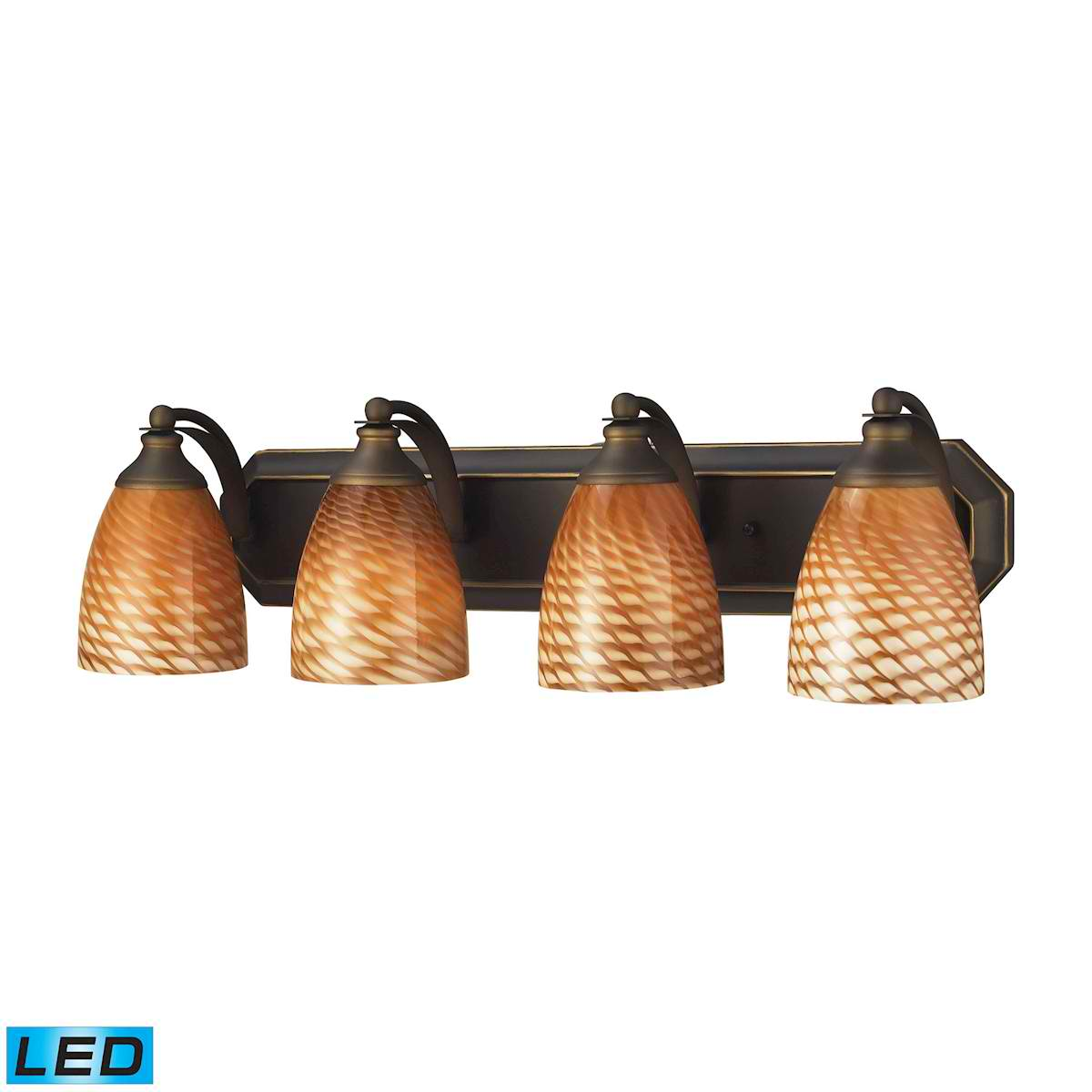 4 Light Vanity in Aged Bronze and Coco Glass - LED, 800 Lumens (3200 Lumens Total) with Full Scale D
