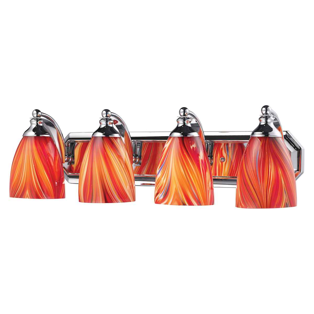 Vanity 4 Light Chrome with Multi Glass
