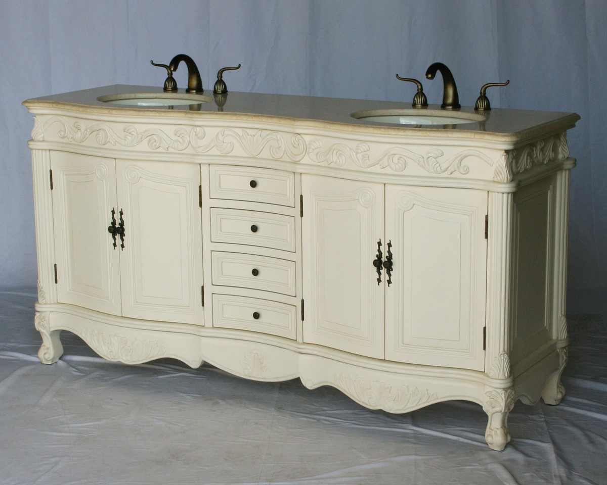 """68"""" Adelina Antique Style Double Sink Bathroom Vanity in Antique White Finish with Beige Stone Countertop and Oval Bone Porcelain Sink"""