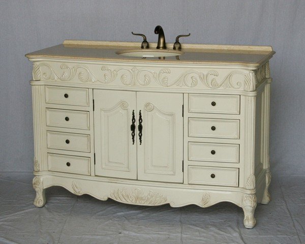"""54"""" Adelina Antique Style Single Sink Bathroom Vanity in Antique White Finish with Beige Stone Countertop and Oval Bone Porcelain Sink"""