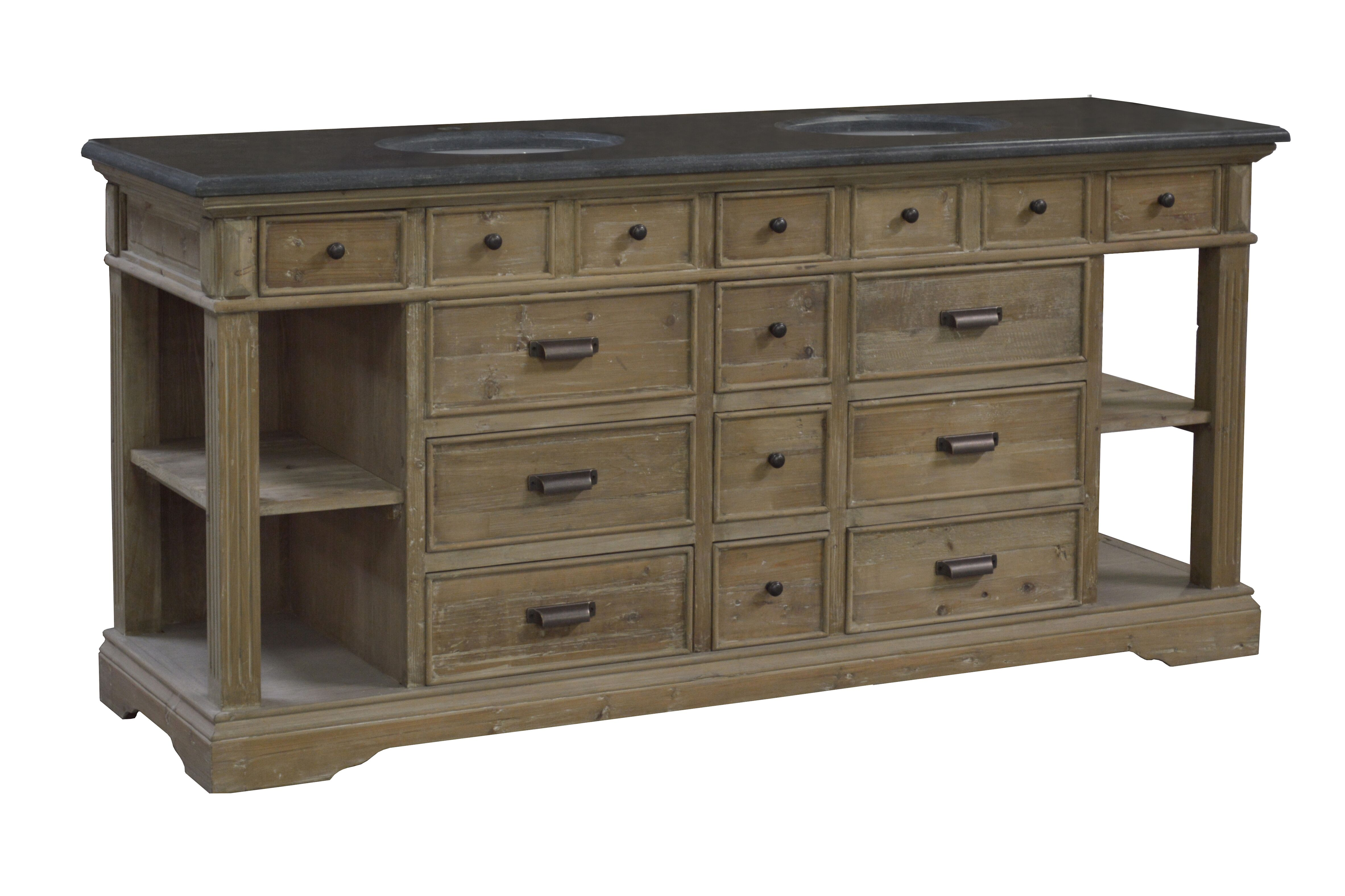 """75"""" Handcrafted Reclaimed Pine Solid Wood Double Bath Vanity Wash Finish"""
