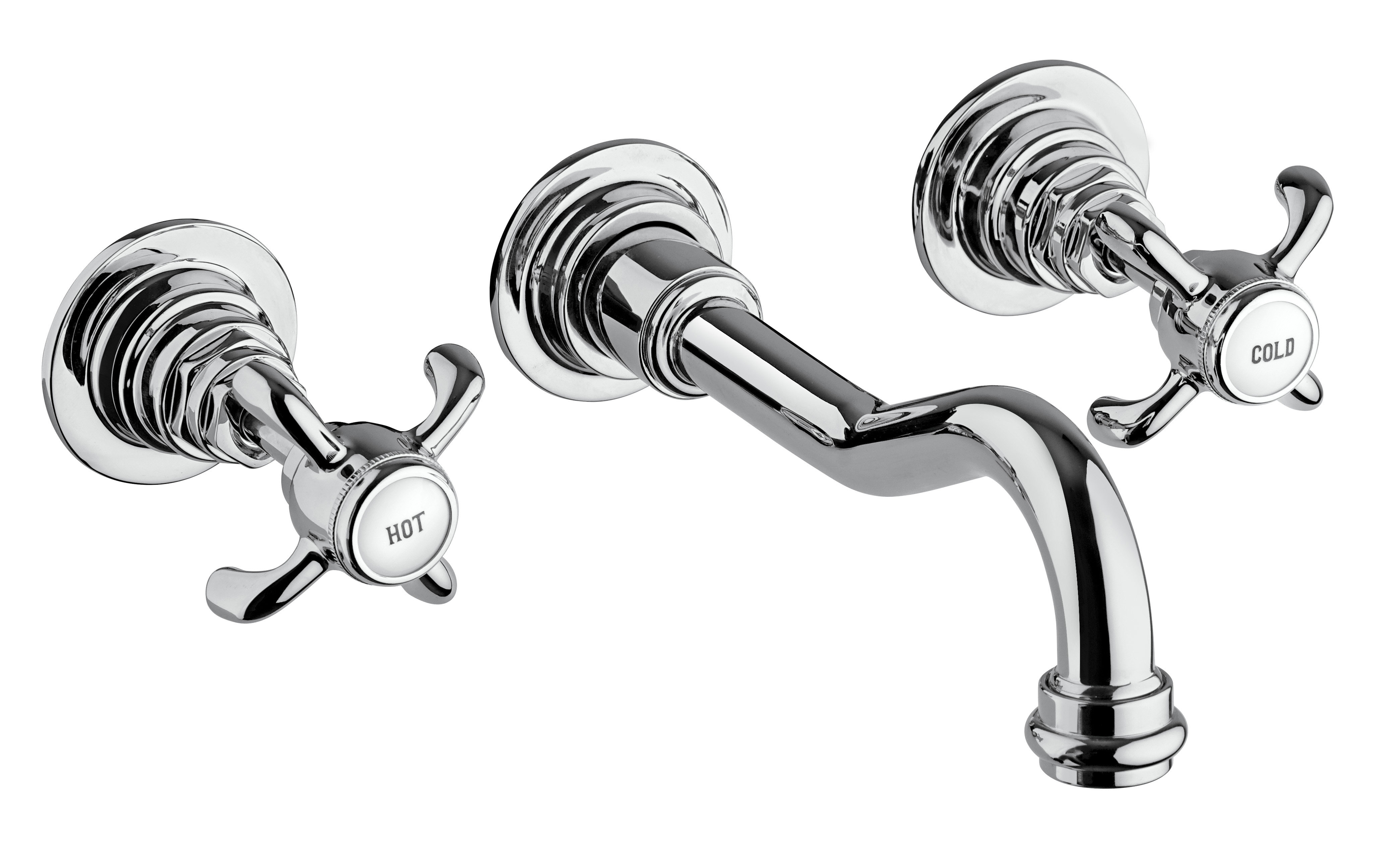 Wall-mount Lavatory Faucet with Cross Handles in Chrome