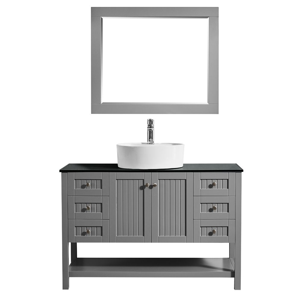 """48"""" Vanity in Grey with Glass Countertop with White Vessel Sink With Mirror"""